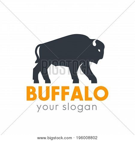 buffalo logo element isolated over white, eps 10 file, easy to edit