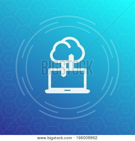 sync with cloud icon, data upload, synchronization, vector illustration