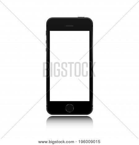 Realistic smartphone black color phone style mockup isolated on white background. For web element and application mockup