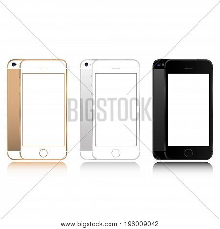 Realistic set of gold silver and black smartphone color phone style mockup isolated on white background. For web element and application mockup