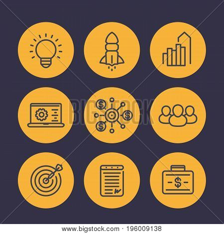 startup icons in linear style, product launch, development, funding, initial capital, contract, team, target market, customers
