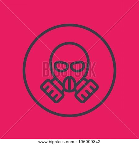 gas mask line icon in circle, vector illustration, eps 10 file, easy to edit