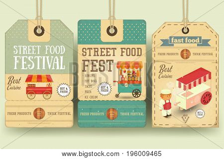 Street Food and Fast Food Truck Festival on Price Tags in Retro Style. Template Design. Vector Illustration.