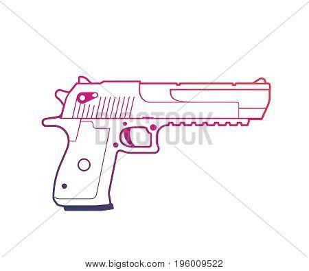 pistol outline over white, handgun, powerful gun vector illustration, eps 10 file, easy to edit