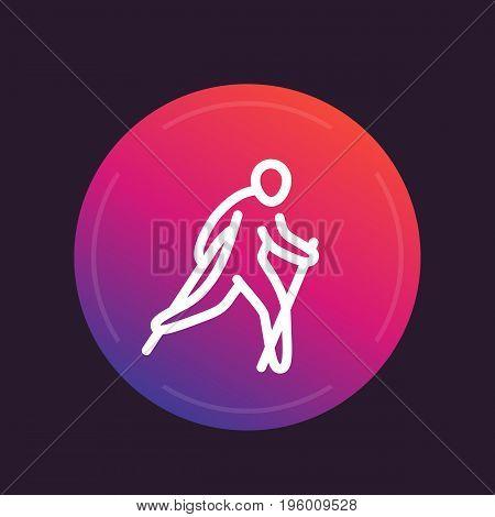 nordic walking line icon, sign, vector illustration