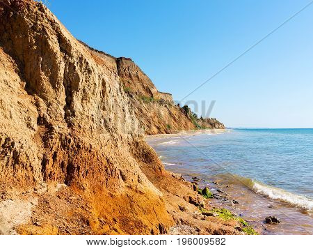 Landslide Zone On Black Sea Coast. Zone Of Natural Disasters During Rainy Season. Large Masses Of Ea
