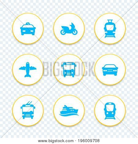 Passenger transport icons set, public transportation, bus, subway, tram, taxi, airplane, ship