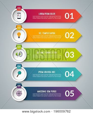 Arrow infographic options banner. Vector template with 5 steps. Can be used for workflow layout, diagram, number and step options, graph, web design.