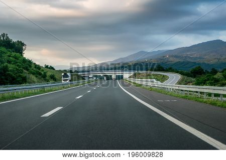 Winding Highway through the rural landscape in Serbia
