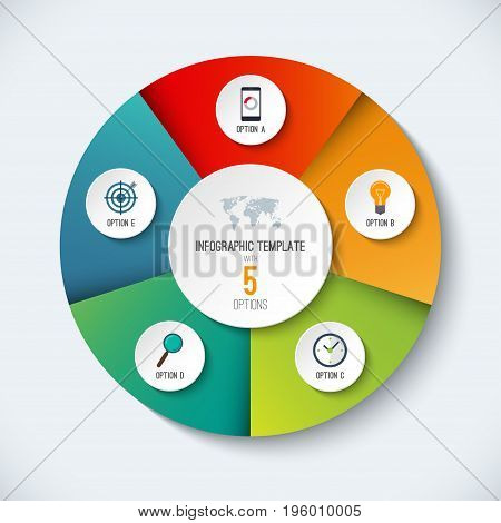 Infographic circle. Vector options banner with 5 steps, parts, pieces. Can be used for cycle diagram, round chart, graph, report