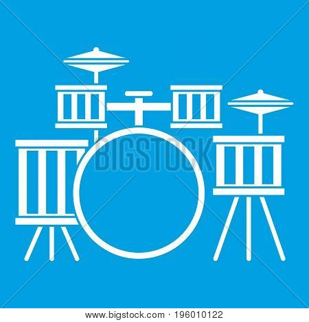 Drum kit icon white isolated on blue background vector illustration