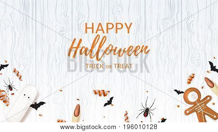 Top view on spiders paper bats and confetti on wooden Beautiful web banner with sweets for halloween. Top view on spiders, paper bats and confetti on wooden texture. Vector illustration with cookies in form of skeleton gingerbread man.