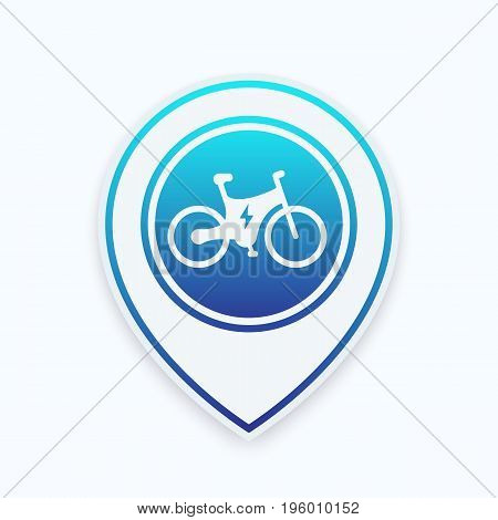 Electric bike icon on map pointer, vector illustration