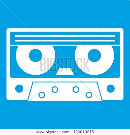 Audio cassette tape icon white isolated on blue background vector illustration