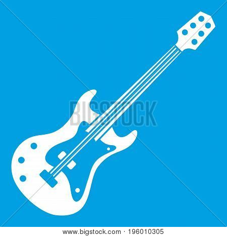 Classical electric guitar icon white isolated on blue background vector illustration
