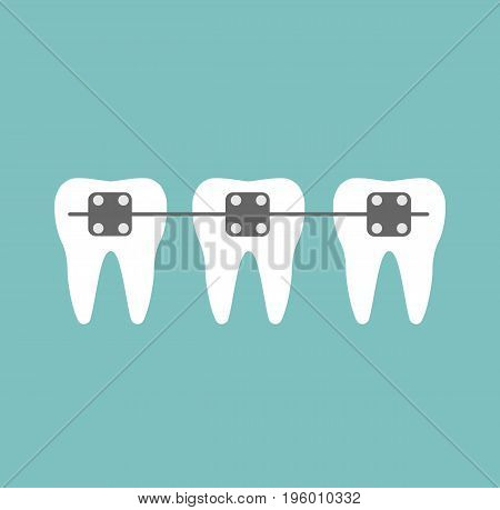 Braces teeth of dental healthcare. Dental concept. Vector stock.