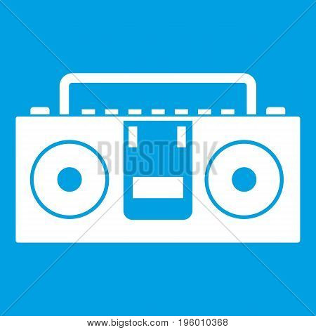 Vintage tape recorder for audio cassettes icon white isolated on blue background vector illustration