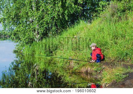 Boy Fishing  Summer Morning