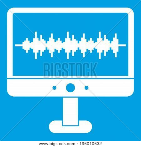 Sound waves icon white isolated on blue background vector illustration