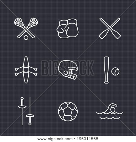 sports and games line icons set, rowing, boxing, fencing, lacrosse, football helmet, soccer ball