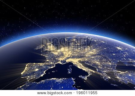 Europe. 3D Rendering. Elements of this image furnished by NASA
