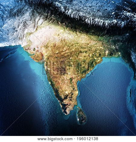 India. Elements of this image furnished by NASA. 3D rendering