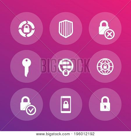 Security icons set, secure transaction, online safety, firewall, key, lock, shield