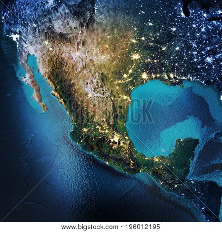 Mexico, North America, USA. Elements of this image furnished by NASA. 3D rendering