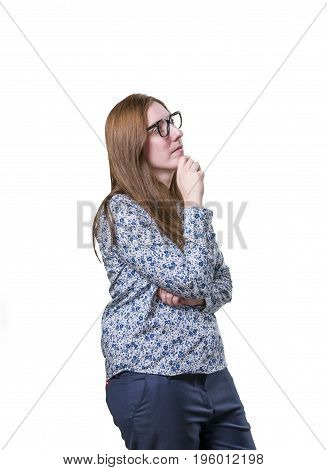 Pretty Business Woman Thinking With Black Glasses.