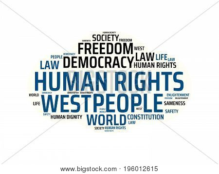 Human Rights - Image With Words Associated With The Topic Community Of Values, Word, Image, Illustra