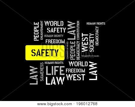 Safety - Danger - Image With Words Associated With The Topic Community Of Values, Word, Image, Illus