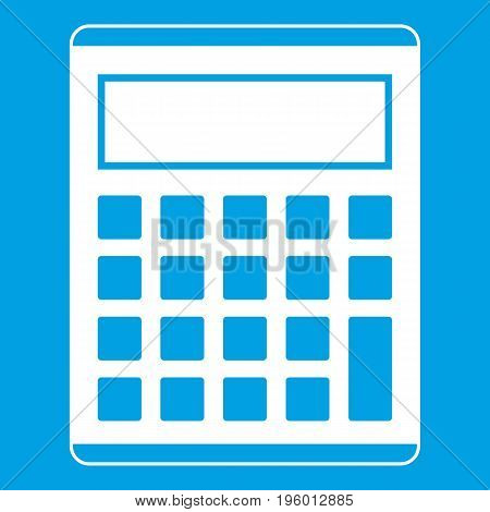 Office, school electronic calculator icon white isolated on blue background vector illustration