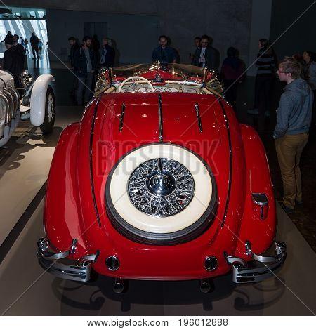 STUTTGART GERMANY- MARCH 19 2016: Luxury car Mercedes-Benz 500 K Special-Roadster (W29) 1937. Rear view. Mercedes-Benz Museum.