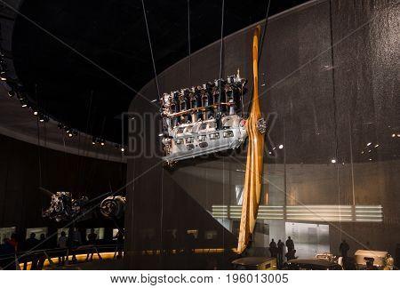 STUTTGART GERMANY- MARCH 19 2016: Mercedes DIII aero engine 1915. Mercedes-Benz Museum.