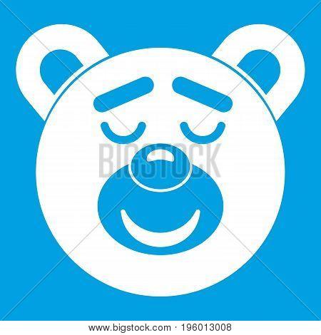 Sleeping teddy bear icon white isolated on blue background vector illustration