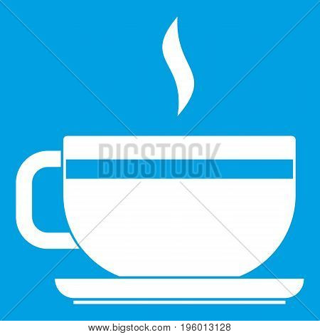 Tea cup and saucer icon white isolated on blue background vector illustration