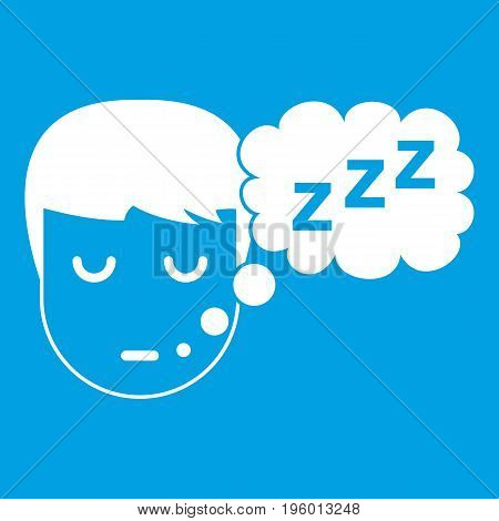 Boy head with speech bubble icon white isolated on blue background vector illustration