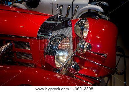 STUTTGART GERMANY- MARCH 19 2016: Fragment of luxury car Mercedes-Benz 500 K Special-Roadster (W29) 1937. Mercedes-Benz Museum.