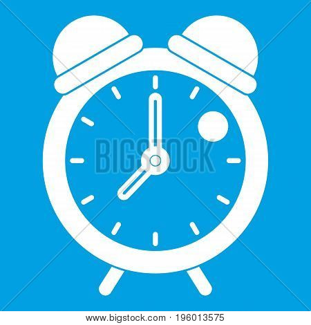 Alarm clock retro classic design icon white isolated on blue background vector illustration