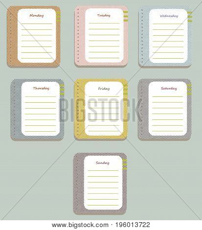 The coloful sheets of the planner for weekly planning with the names of the days of the week and green lines. Diary.Vector illustration.