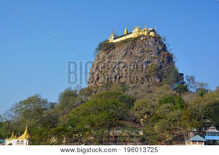 View Of The Mount Popa  (taung Kalat) - Sacred Place For Pilgrimage Near Bagan, Myanmar