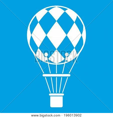 Checkered air balloon icon white isolated on blue background vector illustration