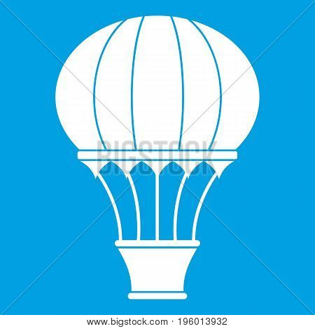 Hot air balloon with basket icon white isolated on blue background vector illustration