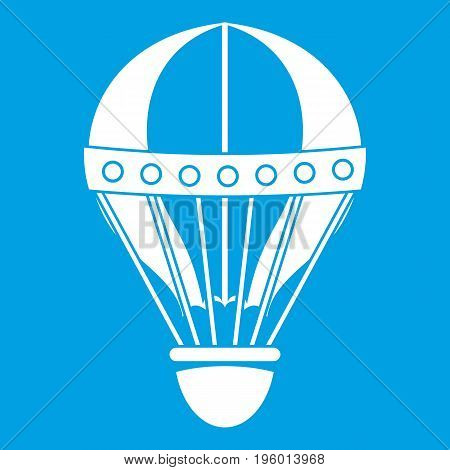 Vintage hot air balloon icon white isolated on blue background vector illustration