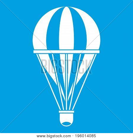 Hot air striped balloon icon white isolated on blue background vector illustration