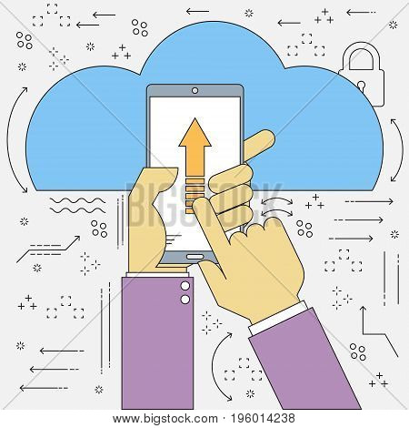 Flat line vector cloud computing mobile connecting upload and download. Vector illustration cloud computing concept design.