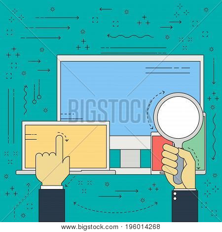 Flat line vector businessman hand with magnifying glass for should and find for device computer laptop mobile smart phone and tablet for work. Vector illustration business technology concept.