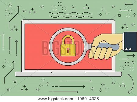 Vector flat line businessman hand with magnifying glass computer laptop key lock with malware ransomware virus attack. Vector illustration cybercrime and cyber security concept.