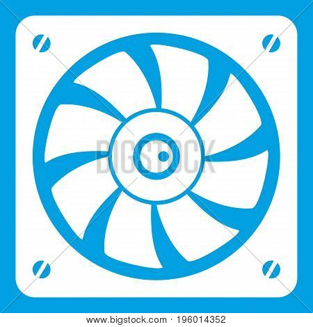 Computer fan icon white isolated on blue background vector illustration