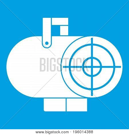 Industrial fan heater icon white isolated on blue background vector illustration